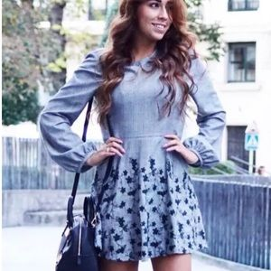 Zara Grey Checked Mini Dress with Floral Embroider